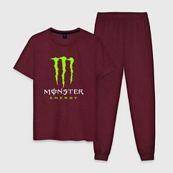 Пижама хлопковая мужская MONSTER ENERGY цвета меланж-бордовый — фото 1