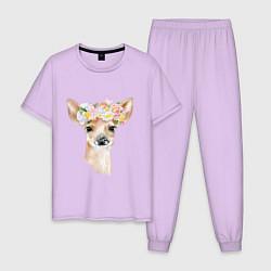 Пижама хлопковая мужская Весенний олень цвета лаванда — фото 1