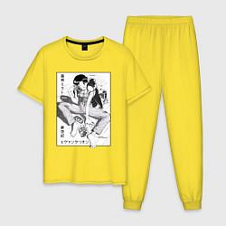 Пижама хлопковая мужская Мисато Кацураги цвета желтый — фото 1