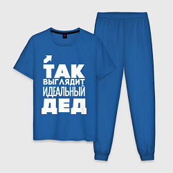 Пижама хлопковая мужская Так выглядит идеальный дед цвета синий — фото 1