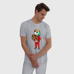 Пижама хлопковая мужская Такеши 6ix9ine цвета меланж — фото 2