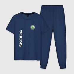 Пижама хлопковая мужская SKODA цвета тёмно-синий — фото 1