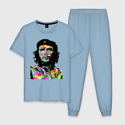 Пижама хлопковая мужская Che цвета мягкое небо — фото 1