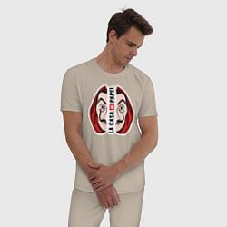 Пижама хлопковая мужская Бумажный дом цвета миндальный — фото 2