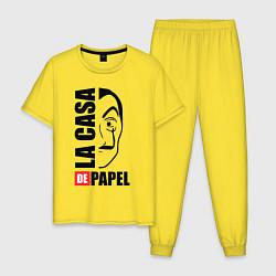 Пижама хлопковая мужская La Casa de Papel цвета желтый — фото 1