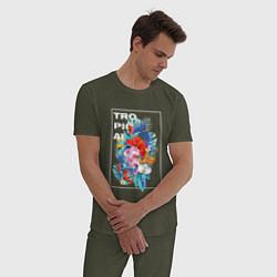Пижама хлопковая мужская Tropical цвета меланж-хаки — фото 2