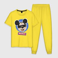Пижама хлопковая мужская Микки цвета желтый — фото 1