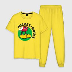 Пижама хлопковая мужская Mickey Mouse цвета желтый — фото 1