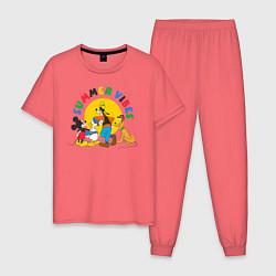 Пижама хлопковая мужская Disney Summer Vibes цвета коралловый — фото 1