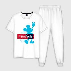 Пижама хлопковая мужская Disney Микки Маус цвета белый — фото 1