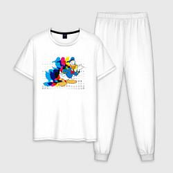 Пижама хлопковая мужская Дональд Дак цвета белый — фото 1