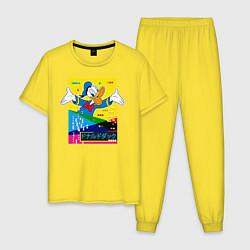 Пижама хлопковая мужская Дональд Дак цвета желтый — фото 1
