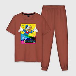 Пижама хлопковая мужская Дональд Дак цвета кирпичный — фото 1