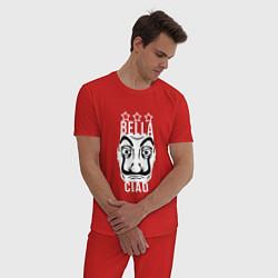 Пижама хлопковая мужская La Casa de Papel Z цвета красный — фото 2