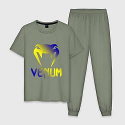 Пижама хлопковая мужская VENUM цвета авокадо — фото 1