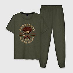 Пижама хлопковая мужская Острые козырьки Череп и бритвы цвета меланж-хаки — фото 1