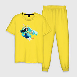 Пижама хлопковая мужская Mulan Warrior цвета желтый — фото 1