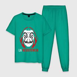 Пижама хлопковая мужская La Resistenicia цвета зеленый — фото 1