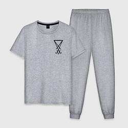 Пижама хлопковая мужская HELLTAKER цвета меланж — фото 1