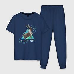 Пижама хлопковая мужская Олень Свен цвета тёмно-синий — фото 1