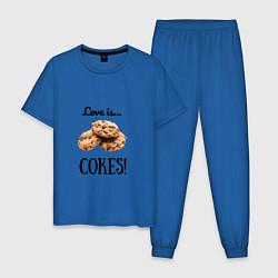 Пижама хлопковая мужская Печеньки цвета синий — фото 1