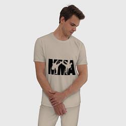 Пижама хлопковая мужская Mixed martial arts цвета миндальный — фото 2