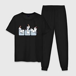 Пижама хлопковая мужская Холодное сердце цвета черный — фото 1