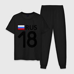 Пижама хлопковая мужская RUS 18 цвета черный — фото 1