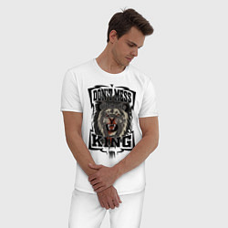 Пижама хлопковая мужская Не испытывай судьбу с Королем цвета белый — фото 2