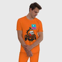 Пижама хлопковая мужская Fall Guys Ultimate Knockout цвета оранжевый — фото 2