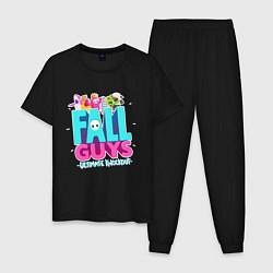 Пижама хлопковая мужская Fall Guys цвета черный — фото 1