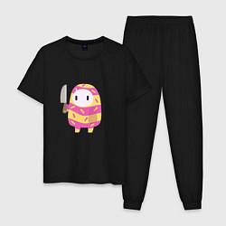 Пижама хлопковая мужская Fall guys knife цвета черный — фото 1