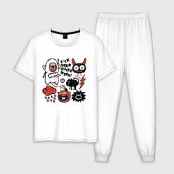 Пижама хлопковая мужская Halloween цвета белый — фото 1