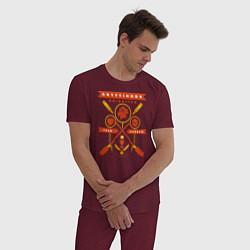 Пижама хлопковая мужская Gryffindor Quidditch цвета меланж-бордовый — фото 2