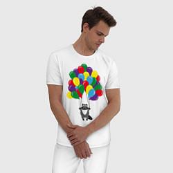 Пижама хлопковая мужская Енот с шариками цвета белый — фото 2