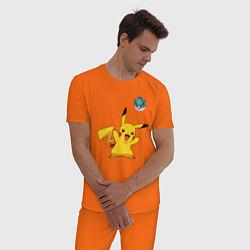 Пижама хлопковая мужская Pokemon pikachu 1 цвета оранжевый — фото 2