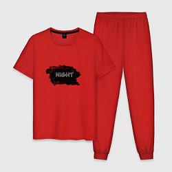 Пижама хлопковая мужская Ночь цвета красный — фото 1