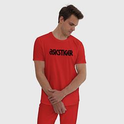Пижама хлопковая мужская ASICSTIGER цвета красный — фото 2