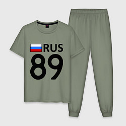 Пижама хлопковая мужская RUS 89 цвета авокадо — фото 1