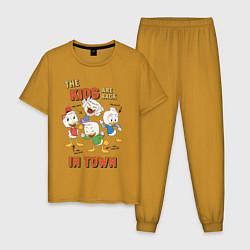 Пижама хлопковая мужская The Kids are back цвета горчичный — фото 1