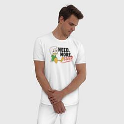 Пижама хлопковая мужская Need More Sleep цвета белый — фото 2