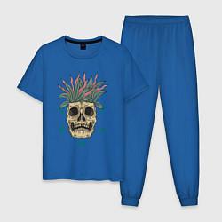 Пижама хлопковая мужская Череп Моргенштерна цвета синий — фото 1