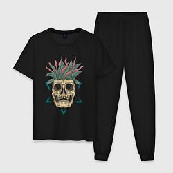 Пижама хлопковая мужская Череп Моргенштерна цвета черный — фото 1