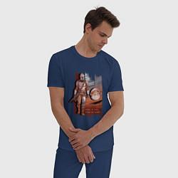 Пижама хлопковая мужская Куда я иду, куда идет он цвета тёмно-синий — фото 2