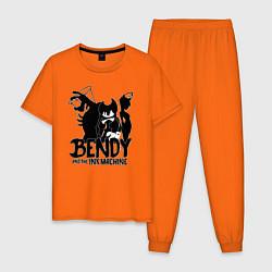 Пижама хлопковая мужская Bendy And The Ink Machine цвета оранжевый — фото 1