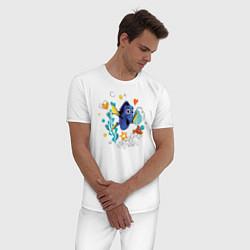 Пижама хлопковая мужская Дори цвета белый — фото 2