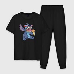 Пижама хлопковая мужская Стич с мороженым цвета черный — фото 1