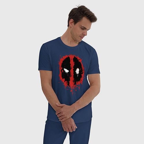 Мужская пижама Deadpool logo / Тёмно-синий – фото 3