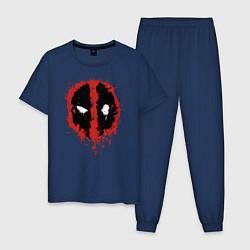 Пижама хлопковая мужская Deadpool logo цвета тёмно-синий — фото 1