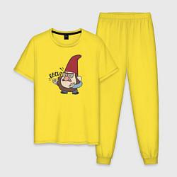Пижама хлопковая мужская Бесит цвета желтый — фото 1